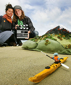 THREADING TOGETHER Hana Miller and Jacob Perkins have been sewing scenery to promote the tourism benefits of the Wellington region to Australian tourists.