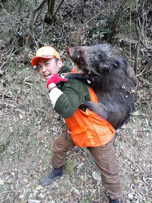 森のたね 富士山田舎暮らし 猪 運ぶ