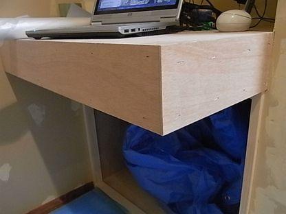 作りつけテーブル 突き板貼り ウォルナット