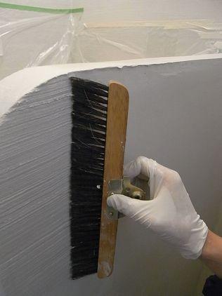 DIY壁塗り 波模様 ホウキ跡