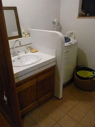 洗面所 リフォーム タイル貼り洗面台 床タイル