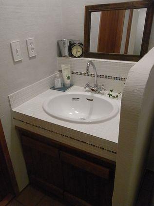洗面所リフォーム ナチュラル モザイクタイル