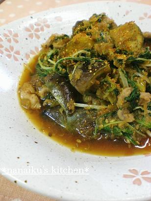 ナス&水菜入り❤豚のおろし生姜煮