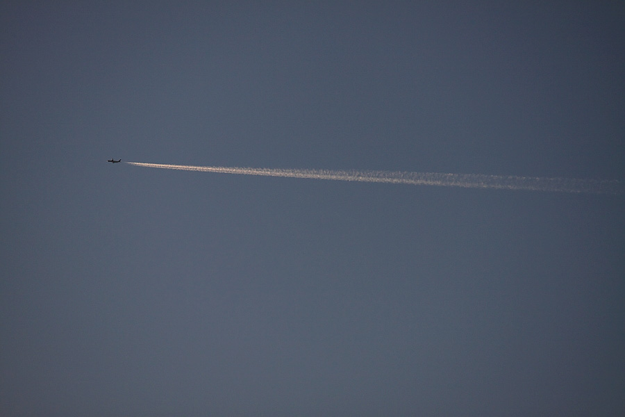 Contrail by JAL B777?@自宅二階(by EOS50D with EF100-400mm F4.5-5.6L IS USM)