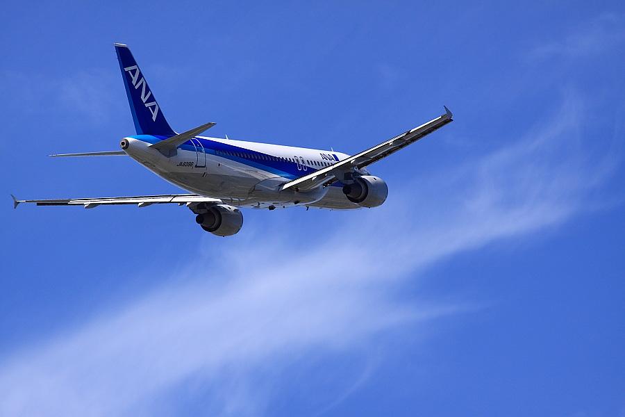 2011年11月1日・ANA A320-211 ANA523@下河原緑地展望デッキ(by EOS 50D with SIGMA APO 300mm F2.8 EX DG/HSM)
