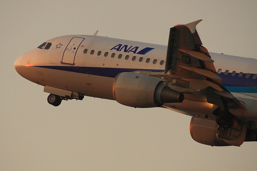 ANA A320-211 ANA549@RWY14Rエンド・猪名川土手(by EOS50D with SIGMA APO 300mm F2.8 EX DG/HSM + APO TC2x EX DG)