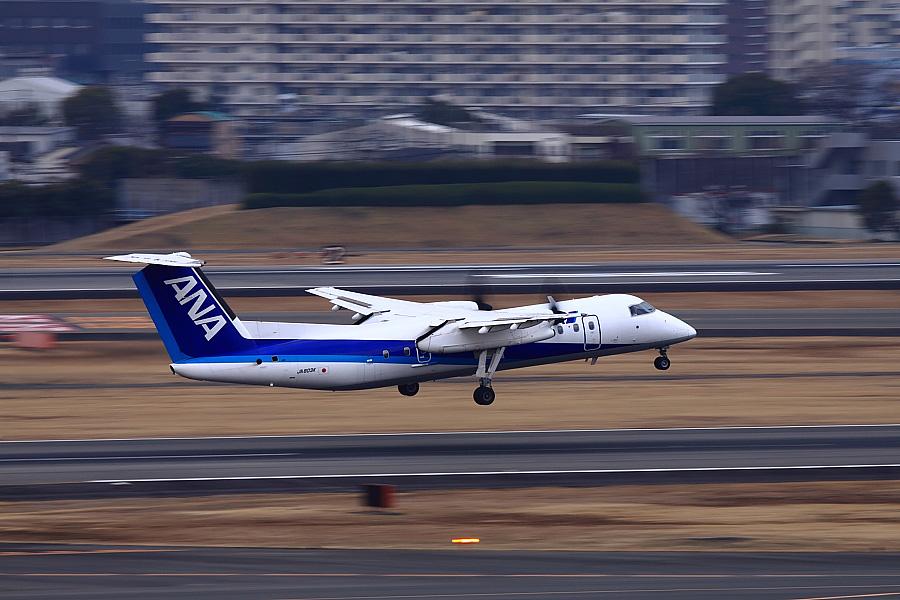 AKX DHC-8-314Q ANA1603@大阪国際空港展望デッキ/ラ・ソーラ(by EOS 50D with EF100-400mm F4.5-5.6L IS USM)