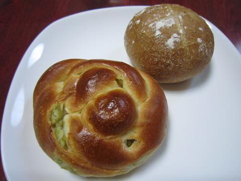うぐいす豆のパン&クリームチーズパン
