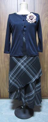 紺色七分袖カーデ