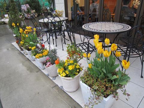お花いっぱいの店前
