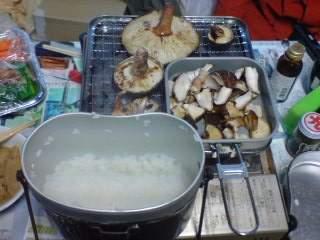 20100430 飯盒炊飯と椎茸