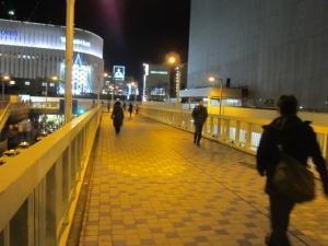 歩道橋の通行人