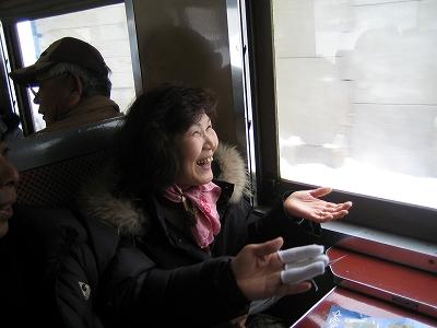 ストーブ列車内
