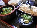 20100919ときわそば高菜寿司と小ざる