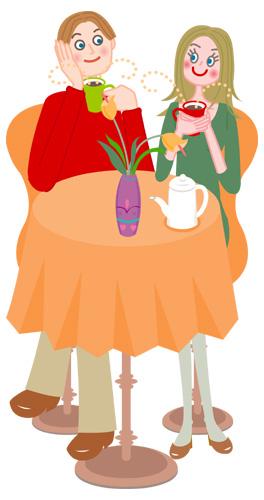 カップルお茶