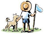 虫取り少年と犬