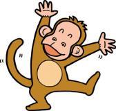 バンザイする猿