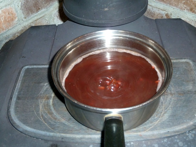 ストーブトップで小豆を煮る