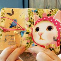 猫のカードケース ピンクずきん