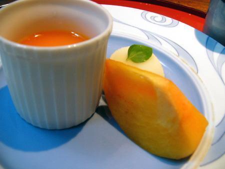 柿 パンナコッタ 杏ソース 洋ナシのシャーベット