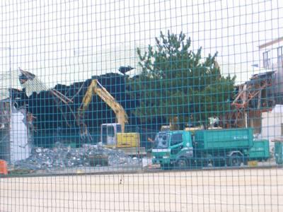 苓中体育館の解体