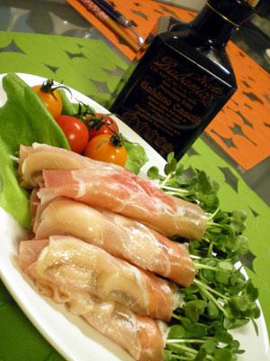 カイワレ大根の生ハム巻きバルサミコ酢かけサラダ