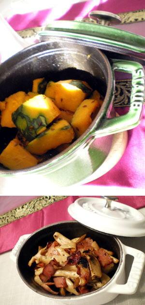 かぼちゃのサブジ&きのこのハーブ蒸し焼き
