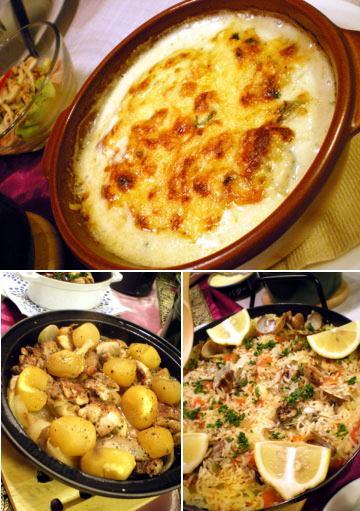 ポテトグラタン&鶏肉と栗のタジン&牡蠣とあさりのパエリャ