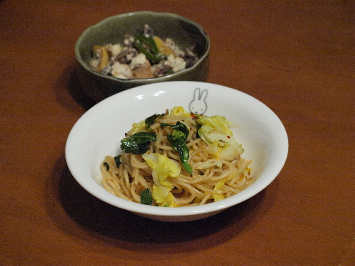 菜の花のスパゲティと竹の子ピーマン・豆腐のオイスター炒め