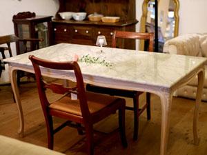 クラシカル 大理石天板 猫脚ダイニングテーブル