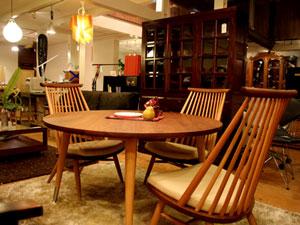 柏木工のシビルダイニングテーブル&サロンチェア4点セット