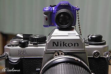 NikonFAとK-xミニチュア(ライトブルー)
