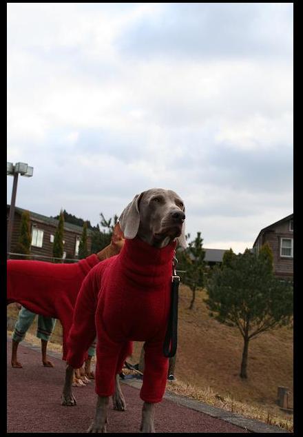 赤フリースロンパース
