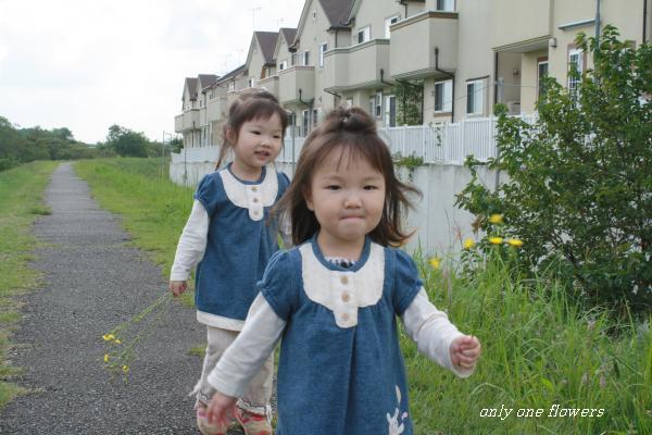 土手に咲く花を摘んで 楽しそうに歩く いちとまの
