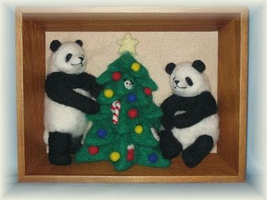 立体額「パンダのクリスマス」