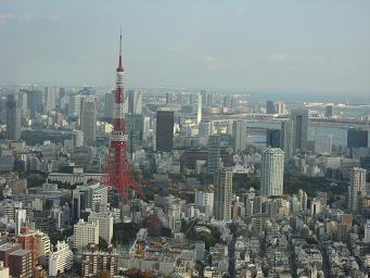 ヒルズ六本木ヒルズからの東京タワー