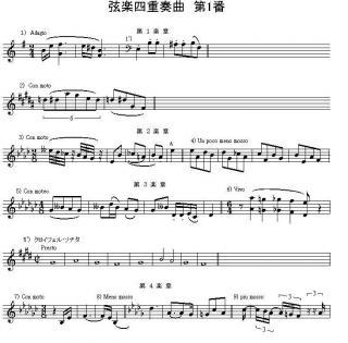 弦楽四重奏曲第1番「クロイツェル・ソナタ」譜例