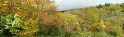 露天風呂からの紅葉の山々
