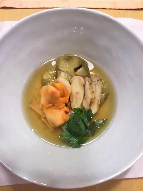 100919赤貝と焼きマツタケの煮びたし (2)
