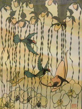 ハチドリと胡蝶蘭
