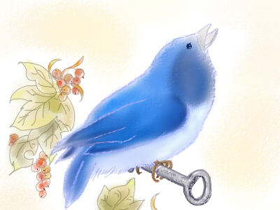 ナナフシと小鳥(絵:きむろみ)