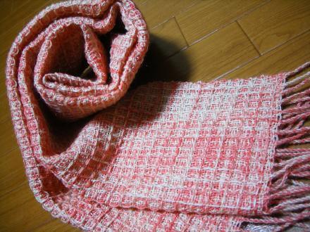 ワッフル織りのマフラー