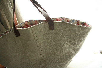 リネン帆布のマルシェバッグ