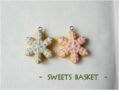 雪の結晶クッキー(ピンク・ブルー)