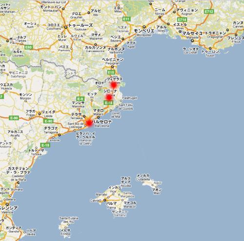 フィゲラスとジローナ地図