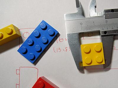 LEGOのサイズをノギスで測ってみる。