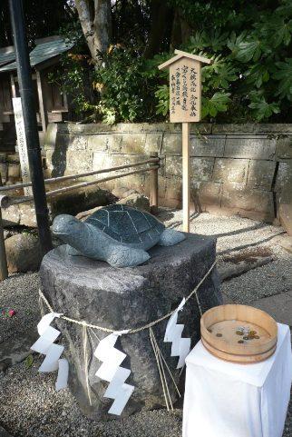 寄贈された亀の石像