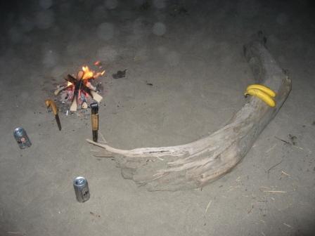 焚き火、ビール、バナナ
