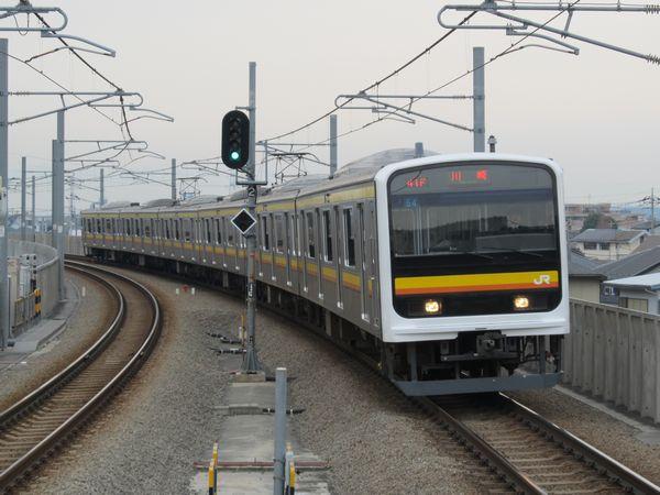 矢野口駅に入線する南武線209系