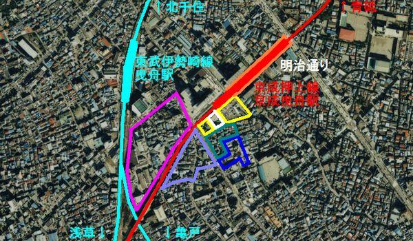 京成曳舟駅周辺の再開発のエリア分け